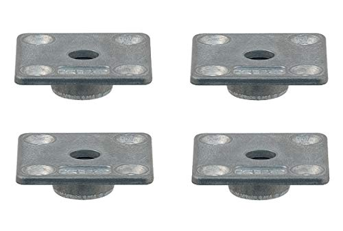 Gedotec Befestigungsplatte Anschraubplatte für Verstellfüße - Regulierschrauben - Möbelfüße | Platte eckig mit M10 Gewinde | Tischbein-Verbinder Stahl verzinkt | 4 Stück - Montageplatten zum Schrauben