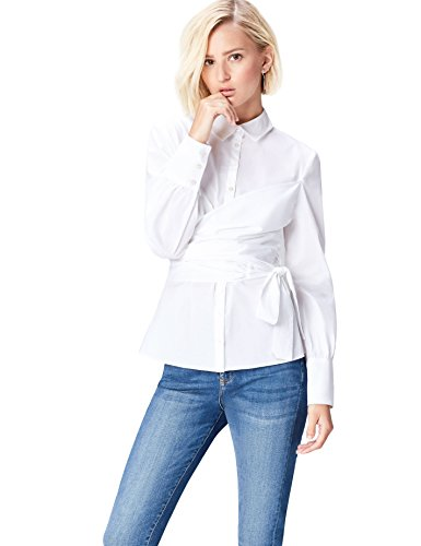 Marca Amazon - find. Camisa con Cuerpo Cruzado para Mujer, Blanco (Weiß), 38, Label: S