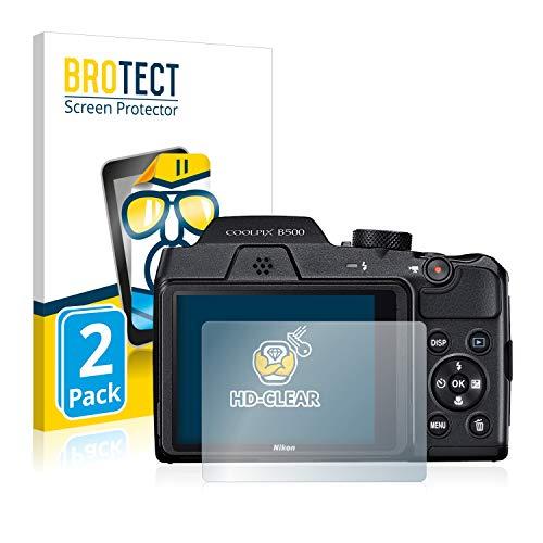 BROTECT Protector Pantalla Compatible con Nikon Coolpix B500 Protector Transparente (2 Unidades) Anti-Huellas