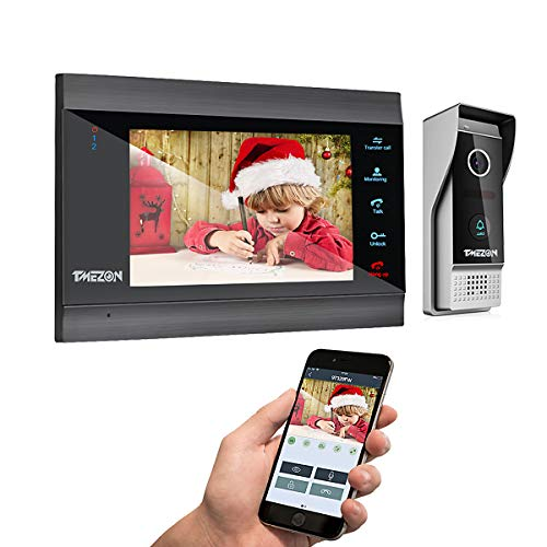 TMEZON Wireless WIFI Video Door Phone IP Doorbell Intercom Entry System 7 Inch with 1x1200TVL Wired Camera Night Vision,Support Remote Unlock Door Release,Record,Snapshot