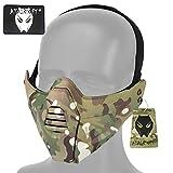 ATAIRSOFTAirsoft Táctico Militar 2 Modos Máscara Protectora de Media Cara para Paintball Caza Juegos de Guerra Cosplay Fiesta de Disfraces de Halloween CS (MC)