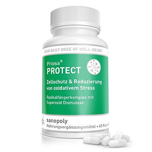 SANOPOLY Priosa® PROTECT 60 Kapseln I Superoxid-Dismustase I Unterstützend zum Zellschutz vor oxidativem Stress I Anti-Aging Effekt durch SOD Enzym I Vegan & Glutenfrei