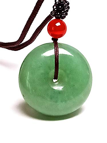 yigedan Collar con colgante de rosquilla de jade verde de la India para mujer y hombre