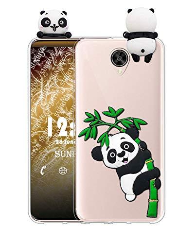 Sunrive Kompatibel mit Meizu Pro 6 Plus Hülle Silikon, Handyhülle Transparent Schutzhülle Etui 3D Hülle Backcover (W1 Panda 2) MEHRWEG+Gratis Universal Eingabestift