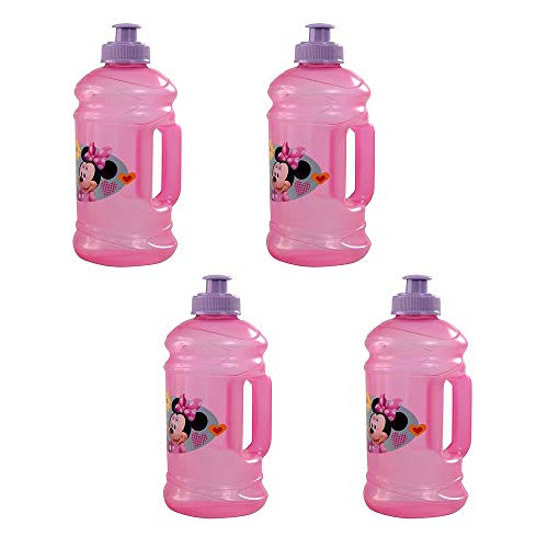 [4-Pack] Minnie Mouse Kids 15.5oz Pull-Top Squirt Sports Water Jug Bottles, BPA-Free