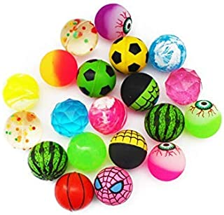SKKSTATIONERY Bouncy Balls 20 Pcs, High Bouncing Balls for Kids, Assorted Designs, Party Favors, 1.25 Inches in Diameter