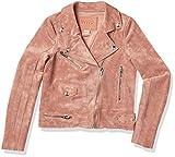 [BLANKNYC] girls Faux Suede Moto Jacket, Pink, L