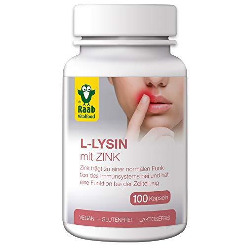 Raab Vitalfood L-Lysin mit Zink, hochdosiert, Vegan, glutenfrei, laktosefrei, 100 Kapseln, 5150, 50g