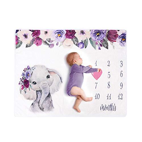brightsen - Manta de franela para bebé, diseño de elefante, supersuave, diseño de elefante, manta mensual para ducha, regalos para fotografía de bebé