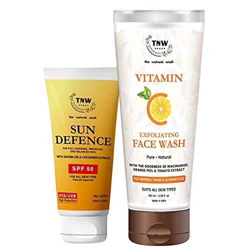 TNW – The Natural Wash Vitamin C Exfoliating Face Wash and Sun Defense with Natural Ingredients   For Glowing and Healthy Skin   Chemical-Free Skincare Products