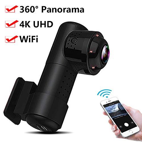 RWXING Dash CAM Coche 4K 2160P WiFi 360° Panorámica Cámara Vigilancia con Infrarrojos Visión Nocturna, Mini Dashcam,Dashcam