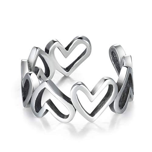 Guzhile, anello alla moda per ragazze con intarsi aperti a forma di cuore, ottimo regalo per San Valentino o per Natale, colore argento, misura regolabile