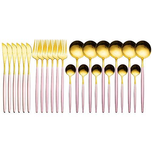 Juego de vajillas de oro Conjunto de vajillas de acero inoxidable Cuchillo Tenedor Cuchara de lujo Cubiertos Conjunto Caja de regalo Platos Lavavajillas Caja fuerte (Color : Pink gold)