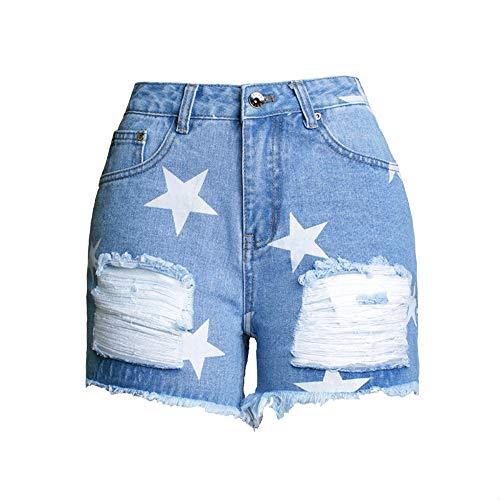 BEECM Damen Jeansshorts Sterne Print Denim Shorts Lässige Jeans Denim Kurze Jeans Loch Shorts