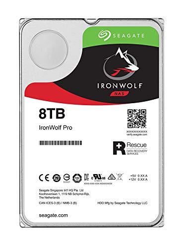 Seagate IronWolf Pro 8 TB HDD, NAS interne Festplatte (8, 9 cm (3, 5 Zoll), 7200 U/Min, 256 MB Cache, SATA 6 GB/S, silber) Modellnr.: ST8000NEZ01, FFP