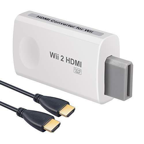 ESYNiC Convertitore Wii a HDMI + 3.5mm Audio con HDMI Cavo 1M Adattatore da Wii a HDMI 1080P 720P Supporta NTSC PAL Convertitore Video da Wii a HD con Audio Compatibile con Wii a HDTV