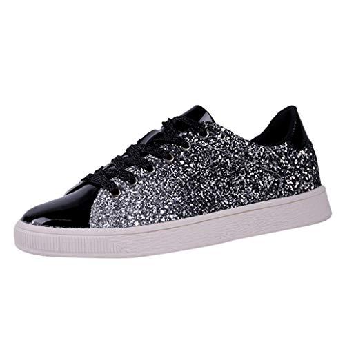 Plate Schuhe Damen Pailletten Glitzer Lackleder Elegant Sneaker Frauen Wasserfest Outdoor Freizeitschuhe