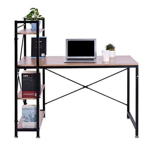 [Houssem] Escritorio con Estantería - Mesa de Estudio con Librería de Estructura Firme, Moderna y Minimalista con 4 Baldas Espaciosas y de Gran Capacidad, 120 x 60 x 120 cm, Roble Y Negro