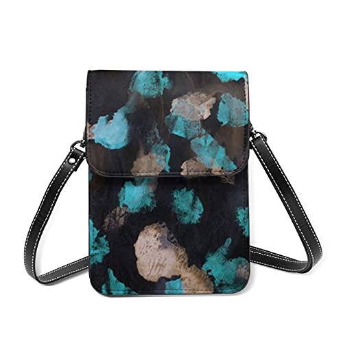 Bolso bandolera para mujer mini bolsos de hombro abstractos coloridos pintados a mano de cuero de la PU cartera del teléfono móvil con correa ajustable