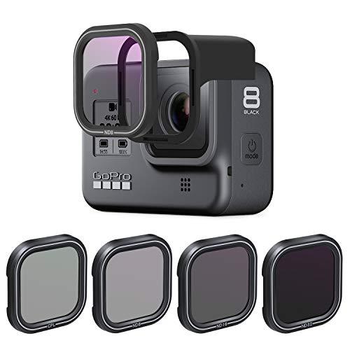 AuyKoo Juego de 4 filtros de Lente CPL ND8 ND16 ND32 para GoPro Hero 8 Black, Polarización de Lente de cámara y Filtro de Densidad Neutra para GoPro Hero 8 Black Accesorios Negros