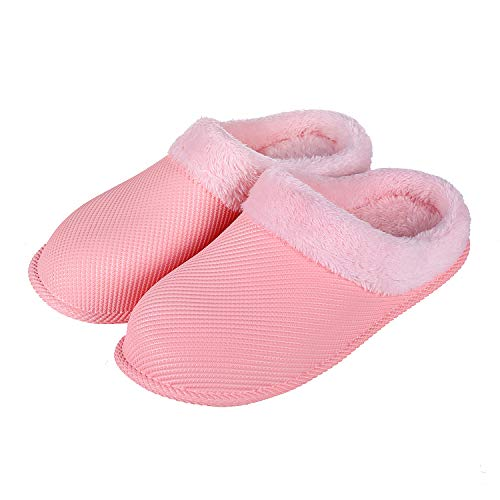 Vigor Life Waterproof Clogs House Slippers - Faux Fur Lining Fuzzy Slippers Warm Fluffy Garden Clogs Shoes with Anti-Skid Sole for Indoor/Outdoor Pink