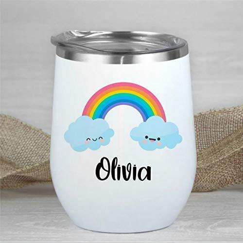 Taza de vino personalizada con diseño de nubes y arco iris, con nombre, taza de viaje con cara sonriente y nube, de doble pared, de acero inoxidable, sin tallo, aislante, taza de café de 12 onzas