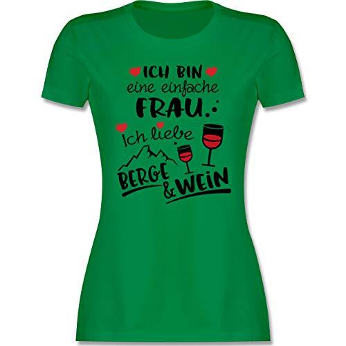 Après Ski - Einfache Frau - Berge & Wein - schwarz - M - Grün - Spruch - L191 - Tailliertes Tshirt für Damen und Frauen T-Shirt