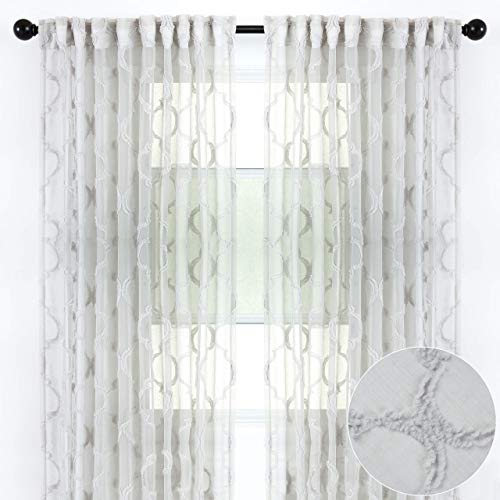 Chanasya 2-Panel Moroccan Embroidered Design Textured Sheer Curtain Panels - for Windows Living Room Bedroom Kitchen Office - Translucent Window Drapes for Home Decor - 52 x 84 Inches Long - Gray