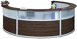 Compass Four Person Reception Desk with Glass Panel 140