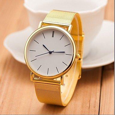 Neue berühmte Markensilber Casual genf Quarzuhr Frauen Metall Edelstahlgewebe Kleid Uhren Relogio feminino Uhr ( Farbe : Golden , Großauswahl : Einheitsgröße )
