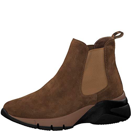 Tamaris Damen Stiefeletten 25441-33, Frauen Chelsea Boots, Stiefel halbstiefel Stiefelette Bootie Schlupfstiefel Damen,Cognac/Zebra,41 EU / 7.5 UK