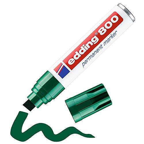 Edding 800 marcador permanente - vert - 1 rotulador - punta biselada 4-12 mm - para marcas llamativas - resistente al agua, secado rápido, indeleble - para cartón, plástico, madera, metal, vidrio