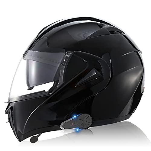 Casco de motocicleta con Bluetooth integrado, intercomunicador FM MP3 incorporado Sistema de comunicación para 2-3 personas Casco modular Certificado ECE/DOT Trabajo de viaje 6,S=55-56CM