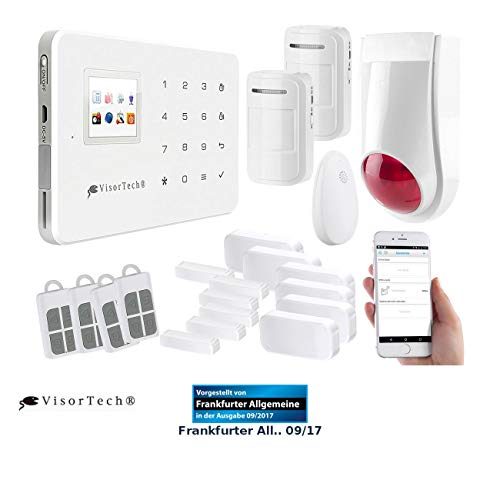VisorTech Wireless Alarmanlage: Funk-Alarmanlage mit WLAN- & GSM-Anbindung, 17-teiliges Starter-Set (WLAN Alarmanlage mit Kamera)