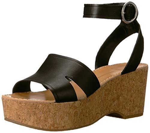 Dolce Vita Women's Linda Wedge Sandal black leather 9.5 M US