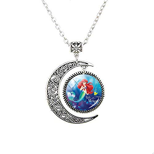 lukuhan Beautiful Mermaid Ariel the Moon Necklace Literary Jewelry