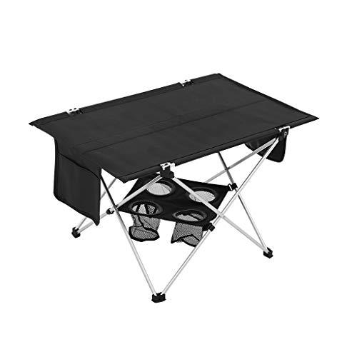 hanzeni Mesa De Camping, Mesa Plegable Portátil, 4 Portavasos, Superficie Sin Combaduras, Compacto, 69 × 42 × 40 CM