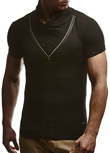 Leif Nelson Herren Sommer T-Shirt Stehkragen Slim Fit Casual Baumwolle-Anteil Cooles weißes schwarzes Männer Kurzarm-T-Shirt Hoodie-Sweatshirt-Longsleeve lang LN670 Schwarz Medium