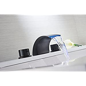 Aquafaucet Led Waterfall Widespread Bathroom Sink Faucet Oil Rubbed Bronze Two Handles