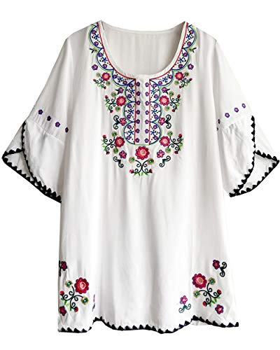 Amy Babe Women's Round Neck Floral Embroidered Peasant Tops Half Sleeve Mexican Bohemian Blouse Shirts White