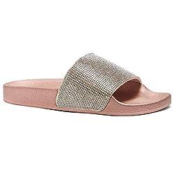 Rhinestone Glitter Rose Gold Slide Slip On Mules Summer Shoe