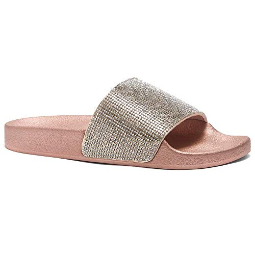 Herstyle Cosmic Womens Fashion Rhinestone Glitter Slide Slip On Mules Summer Shoe Platform Footbed Sandal Slippers Rose Gold 10.0