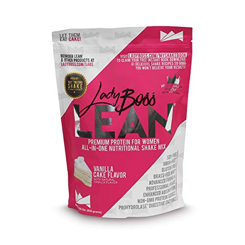 Premium Protein Powder & Meal Replacement Shakes for Women - LadyBoss Lean - Best Tasting Nutritional Drink Mix - Whey - Creamy Vanilla Cake - Fights Cravings & Helps Keep You Feel Full