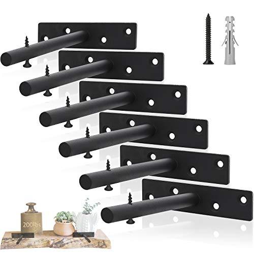 ChasBete 6er Pack Regalhalterung, versteckte Halterungen, 15cm, Stahl, Schwarz, für Holzregale, unsichtbare Befestigung für Wandregal, Tablarträger