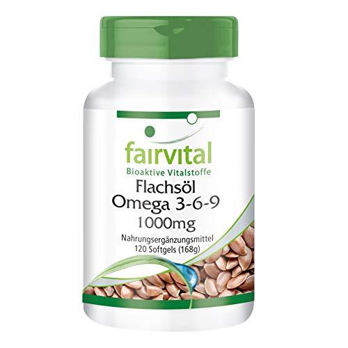 Omega-3-6-9 Kapseln - HOCHDOSIERT mit 2000mg Leinsamenöl (Flaxseed Oil) pro Tagesdosis - natürliches Linolsäure & Alpha-Linolensäure - kaltgepresst - 120 Softgels
