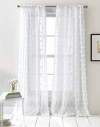 DKNY Ella Sheer Window Curtain Panel Pair, 50 x 96 inch, White
