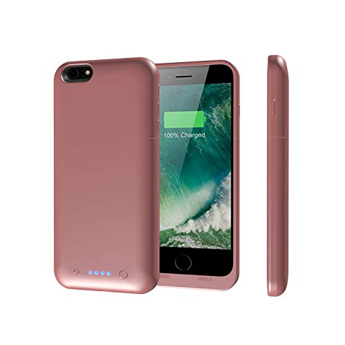 Epuirie - Funda para iPhone 6 Plus/6S Plus, con cargador de batería portátil recargable, con 6800 mAh de reserva, funda con cargador para iPhone 6 Plus/6 S Plus de 5,5 pulgadas Oro Rosa