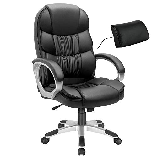 Giantex Executive Office Chair w/Padded Lumbar Pillow, Big and Tall Ergonomic Desk Chair, Adjustable Height, Upholstered Seat, PU Leather Swivel Task Chair, High Back Managerial Chairs (Black)