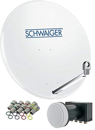 SCHWAIGER -531- Sistema Sat | parabola satellitare con Quad LNB (digitale) & 8 connettori F 7 mm | antenna satellitare in alluminio | grigio chiaro | 74,5 x 84,5 cm