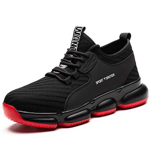 SROTER Sicherheitsschuhe Herren Damen Arbeitsschuhe mit Stahlkappe Atmungsaktiv Leicht Sportlich Sneaker Schutzschuhe Schwarz Rot 44 EU